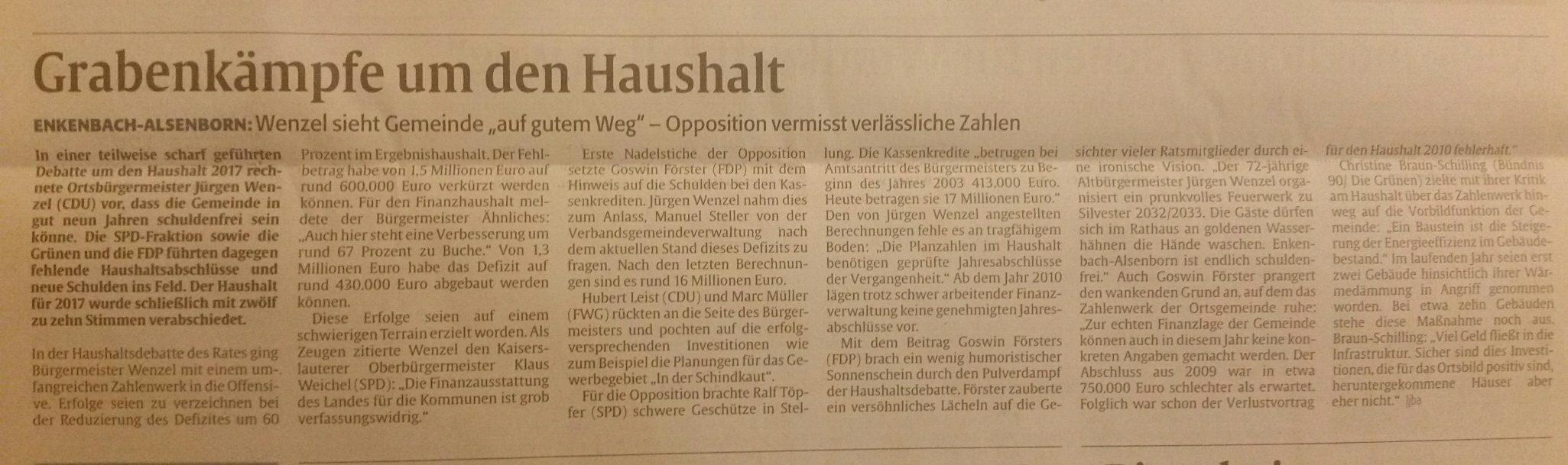 Intransparenz in der Ortsgemeinde - SPD Enkenbach-Alsenborn